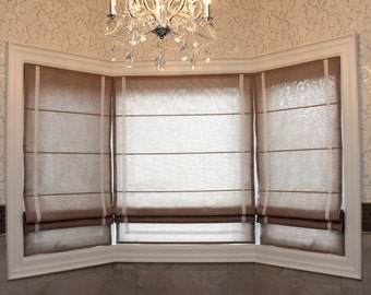 "Flat Roman Shade ""Barnes"" with border and chain mechanism, Linen Roman Shades, Window Treatments, Ready to made"
