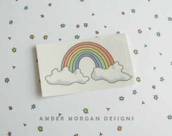 Rainbow Temporary Tattoo, Clouds Tattoo, Cute Tat, Kawaii Tattoo, Fake Tattoo, Cute Tattoo, Cute Food, Pretty Tattoo, Fun Temporary Tat