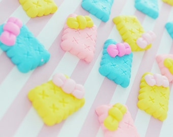 30mm Sweet Bow Pastel Cookies Flatback Resin Decoden Cabochon - 3 piece set