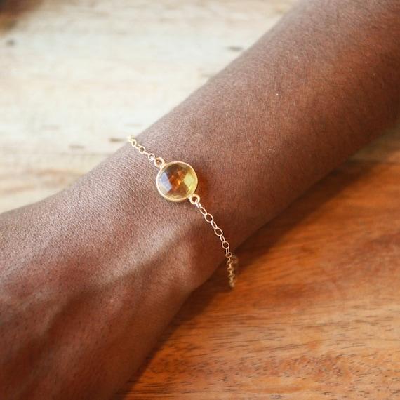 Bracelet, Charm Bracelet, Gold Bracelet, Bridesmaid Gold Bracelet 14K, Citrine Bracelet, Bridesmaid Gift, Will You Be My Bridesmaid
