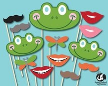 Frog Printable Photo Booth Props | Frog Themed Photo Props | INSTANT DOWNLOAD | Party Safari By Candace