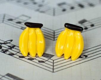 Cute Banana Earrings, Banana Miniature Earrings, Mini Banana Accessory, Fruit Lover Earrings, Foodie Earrings