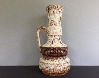 Jopeko 306 / 31  nice handled frothy pumice vulcanic Fat Lava vase, 1970s  Mid Century Pottery ,  WGP.