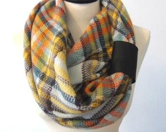 Plaid infinity scarf, blanket scarf, chunky scarf, winter scarf, tartan scarf, blanket scarf wool, plaid scarf