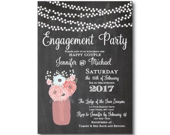 Rustic Engagement Party Invitation, Mason Jar Engagement Party Invitation, Rustic Wedding, Mason Jar Wedding, Rustic Party Invite  #CL220