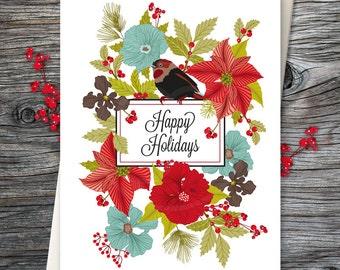Christmas Card, Blank Holiday Card, Greeting Card, Christmas Greeting Card, Flower Greeting Card, Holiday Stationery, Bird - Card No. 15