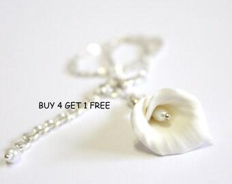 White Calla Lilies - Calla Lilies Jewelry - Gifts - White Calla Lilies Bridesmaid, Necklace, Bridesmaid Jewelry
