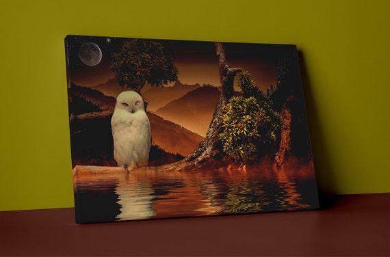Digital Art Owl  Mirror Wrapped Canvas
