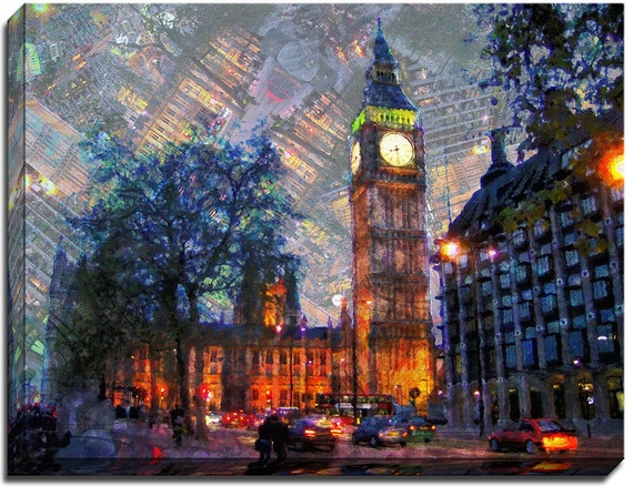 Clock Tower Big Ben Watercolor |  Mirror Wrapped HP Professional Canvas