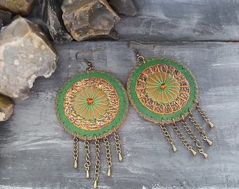 Leather earrings. Bohemian earrings. Gypsy earrings. Boho earrings. Green earrings. Ethnic earrings. Boho jewelry. Large hippie earrings.