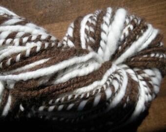 Natural Brown and White Handspun Yarn, USA,  No Dyes