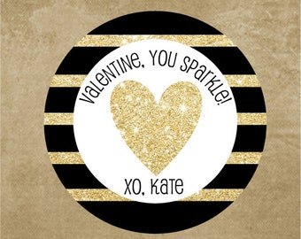 Black and Gold Stripped Valentine Stickers, Personalized Valentine Favor Stickers, Kids Valentines Stickers, Glitter Heart Stickers