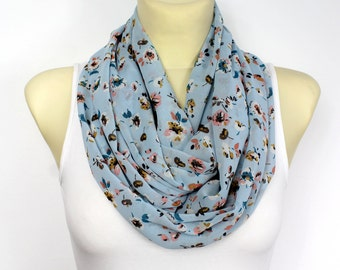 Infinity Scarf Floral Infinity Boho Infinity Scarf Floral Print Scarf Bohemian Scarf Birthday Gift for her for mom Spring Celebrations
