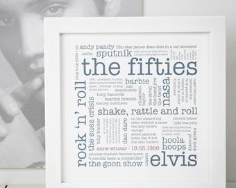 The Fifties Print; Personalised 60th Birthday Gift; 60th Birthday; You're 60 Gift; 1950s; Born 1956; PAP145