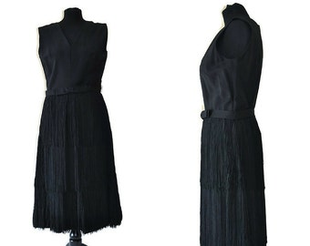 1960's Black Dress // Fringed Black Dress with Matching Belt // Flapper Style Dress
