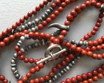 Red Jasper and sterling silver beaded necklace