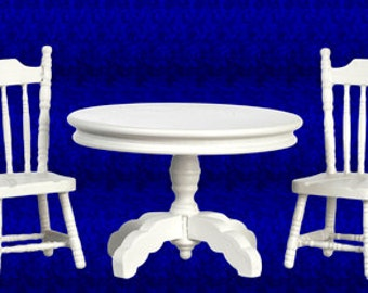 Dollhouse Miniatures 1:12 Scale TABLE WITH 2 CHAIRS Set #91700-91703