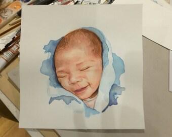 WATERART* Art commissioning, Custom portrait, Family portrait, Original Watercolour