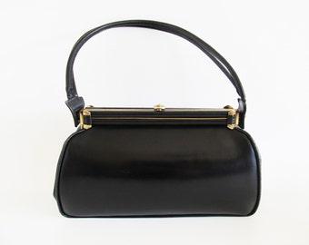40s • Vintage • Bag • Black Leather Bag • Black Handbag • Black Leather Handbag • Top Handle Bag • Leather Top Handle Bag • Purse •