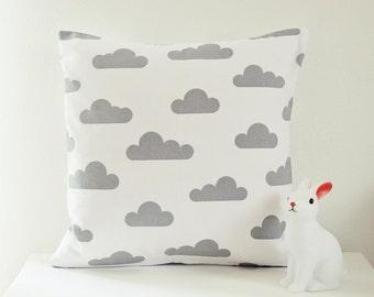 Ahoj-2012 Cushion cover, pillow cover, pillow, pillow, clouds, cloud motif, nursery, grey/white, decoration, cloud pillows