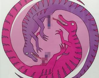 "Dirty Dinosaurs, ""Before Time Began II,"" funny handmade adult art print"