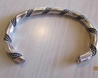 Sterling Silver Twiated Wire Cuff Bracelet