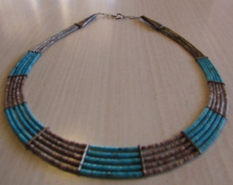 Turquoise and Olive Shell Five Strand Necklace