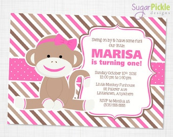 Pink Sock Monkey Invitation, Sock Monkey Invitation, Sock Monkey Party, Sock Monkey birthday invitation, Monkey printable invitation,