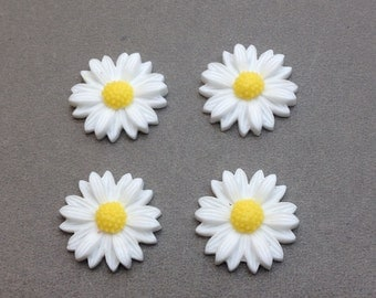 50pcs 20mm White Color Resin Sunflower Charms