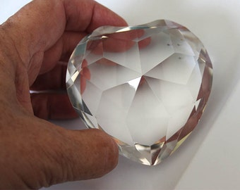 Clear glass heart paperweight