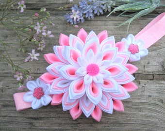 Light pink white big flower elastic headband for baby girl Photo prop baby hair accessory Kanzashi flower hair band Handmade hair flower