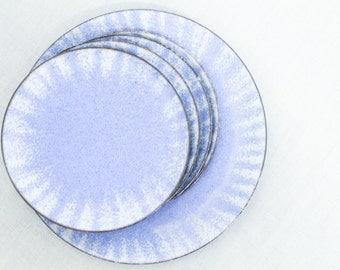 Vintage Untersetzer Emaille Maritim DDR 60er Handarbeit blau weiß Teller Ringschale Deko