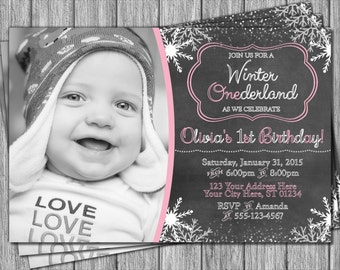 Winter Birthday Invitation - Winter ONEderland Invitations - Snowflake & Chalkboard
