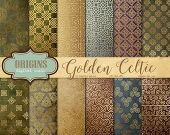 Gold Celtic Digital Paper, medieval fantasy gold foil digital backgrounds, printable scrapbook paper, irish gold crests, royal patterns