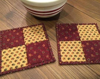 Quilted Potholders /Kitchen Potholders/ Handmade/ # 1532