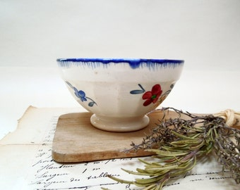 1800s Small Cafe au lait bowl, coffee bowl, french vintage, antique, tea, hot chocolate, petit dejeuner, housewares, country serving apero