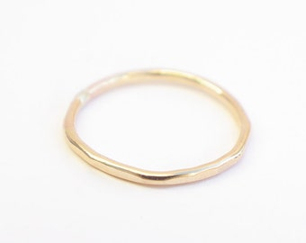 Hammered 14K Gold Band - Awesome Stacker!