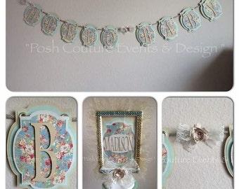 Vintage Baby Shower/ Vintage Floral Baby Shower Complete Package/ Baby Shower Package/ Vintage Favor box/ Vintage Floral Baby Sign