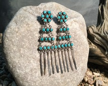 Vintage Navajo Turquoise and Sterling Silver Petit Point Earrings, Old Pawn Native American Chandelier Earrings, Untreated Turquoise CER-115