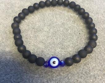 Evil Eye Bracelet with Matte Black Beads