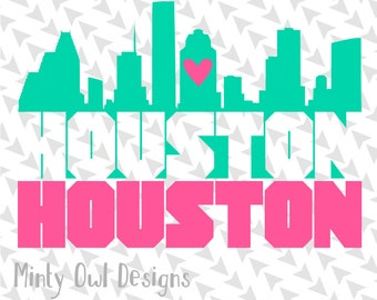 Cricut SVG - Cutting Files - I Love Houston SVG - Houston Skyline - Houston Decal - Texas - Houstonian - Texan - Silhouette