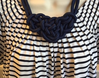 Navy Blue Nautical Knotted  Rope Knot Braided Statement Necklace