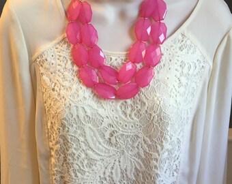 Translucent Fuchsia Hot Pink Multi Layer Strand Bubble Beaded Bib Cascade Statement Necklace