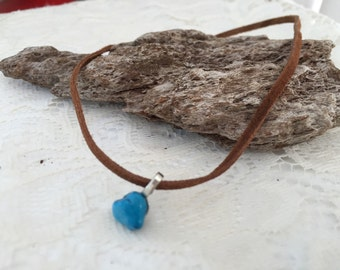 Brown leather turquoise chocker