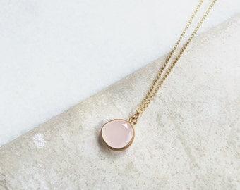 Necklace Little Rose Quartz / Goldfilled 18K Chain / BAMBI Boutique / JN12