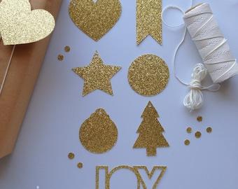 Glitter Christmas Tags - Set of 40