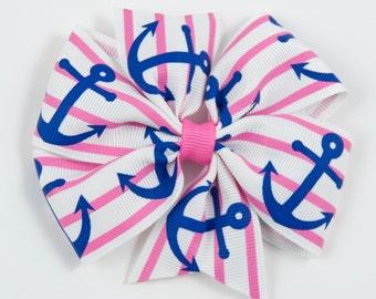 Pink and Blue Anchor Hair Bow - Pink Navy Anchor Nautical Pinwheel Hair Bow - Nautical Hair Bow - Summer Pinwheel Bow (Item #10222)