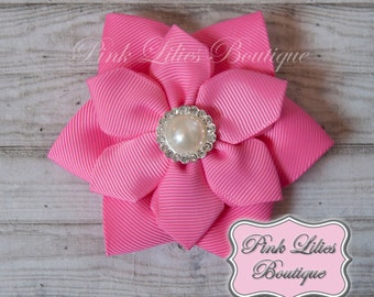 Pink Hair Bow - Hot Pink Flower Hair Bow - Pink Hair Bow - Hot Pink Flower Bow - Pink Flower Hair Clip (Item #10260)