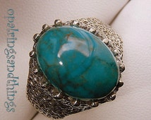 Bisbee Turquoise Ring, Mens Turquoise Ring, Sterling Silver Ring, Men's Silver Ring, Arizona Turquoise Ring,  Size Y, Size 12