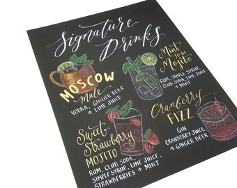 Custom Hand Lettered SIGNATURE DRINK Menu Calligraphy Sign for Wedding Bar 11x14